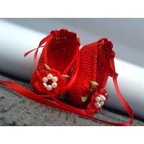 Sapatinho De Croche Feminino Vermelho Sapatilha Bebe