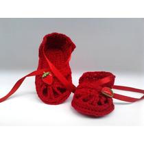 A 125 Sapatinho De Croche Feminino Sandalia 8 Cm Bebe Menina