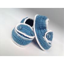 A151 Sapatinho De Croche Masculino De Menino Azul E Branco