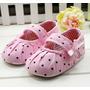 Sapato Rosa Com Bolinhas Pretas + Faixa - Bebê Menina