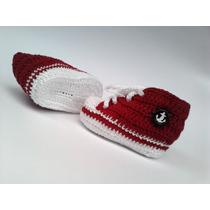 A203 Sapatinho De Croche Masculino Vermelho Estilo All Star
