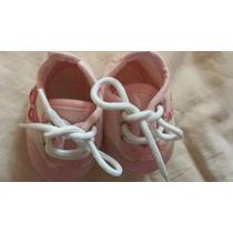 Sapatinho Menina Infantil Rosa Com Branco 13/14 Rn Lindo