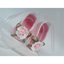 A184 Sapatinho Croche Infantil Sapatilha Bebe Enxoval Menina