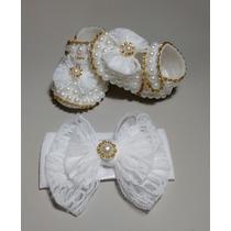Sapato Para Presente Recém Nascido Branco Menina De Perola