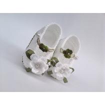 A240 Sapatinho De Croche Branco Feminino Bebe Enxoval Menina