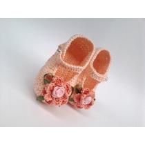 A183 Sapatinho De Croche Infantil Salmao Flor Bebe Menina