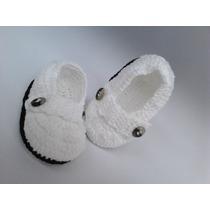 A3 Sapatinho De Croche Branco E Preto Masculino Orna Enxoval