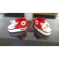 Tênis Estilo All Star Cano Alto Em Croche Para Bebes