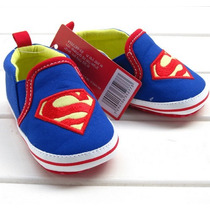 Tênis Bebe Criança Azul Super Man/super Homem- Tamanho 13 Cm