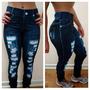 Calça Legging Jeans Rasgado Levanta Bum Bum