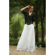 Calça Pantalona- M Modelo Importado Em Linho Muito Elegante