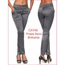 Calça Feminina Cinza Lycra Social Uniforme Prada Two Way 749