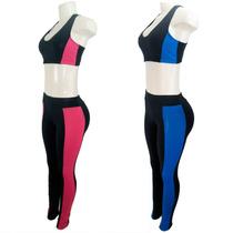 Conjunto Top + Legging Recorte Suplex Fitness - Plus Size