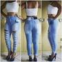 Calças Jeans Feminina Cintura Alta Hot Pants Rasgadinha