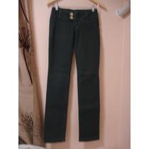 Calça Jeans Verde Escura 34 36 Pp Skinny Color Glitter