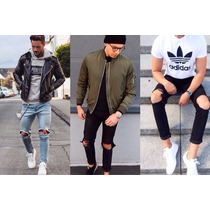 Calça Masculina Jeans Sarja Skinny Rasgada Joelho