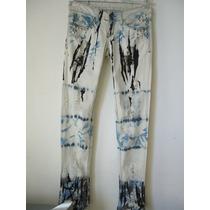 Calça Jeans Manchada, Com Tachas E Spikers, Estilo Street...