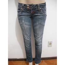Calça Jeans Feminina Detalhe Ilhoses Tam 36 Bom Estado