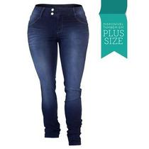 Calça Jeans Feminina Skinny Lycra Cós Alto Plus Size 1668