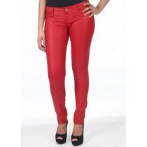 Calça Resinada Vermelho Sawary Jeans Tm 44