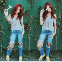 Calça Jeans Feminina Hot Pants Destroyed Customizadas