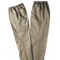 Calça, Elástico,brim,uniforme,4 Bolsos + 2 Bolsos Cargo