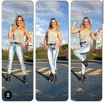 Calça Jeans Detalhe Lateral Cos Alto Cintura Alta Hot Pants