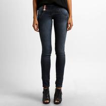 Jeans Biotipo Cós Largo Stretch Strass Realça Curvas Tam. 44