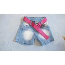 Shorts Jeans Com Cinto Feminina Extrato Positivo Cod.068