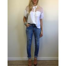 Calça Jeans Skinny Justa Rasgada Cintura Média