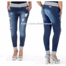 Calça Sawary Jeans Moleton Elástico Rasgadinha
