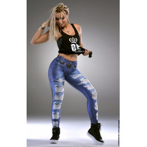 Calça Legging Estampa Jeans Rasgado Lipsoulgirls Fitness