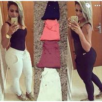 Calça Tipo Moletom Skinny Feminino - Promoção
