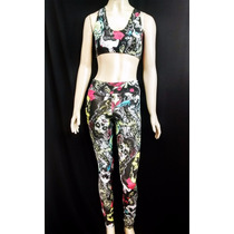 Conjunto Top + Legging Estampado Suplex Fitness