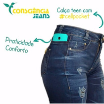 Calça Jeans Hot Pants Bolso P Celular Cintura Alta