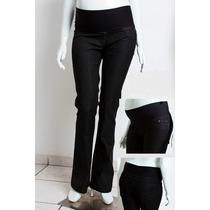 Calça Flare Jeans Com Suplex Gestante Mommybaby