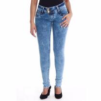Calça Jeans Feminina Sawary Skynny Levanta Bumbum Cós Largo