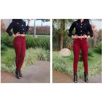 Calça Jeans Veste Leging Hot Pant Feminino Bordo+lycra+justa