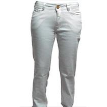 2 Calças Sarja Branca C/ Lycra Feminina 38-40-42-44-46