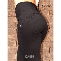 Calça Gata Jeans Corpete Preta Cintura Alta Skinny Ca722 Pt