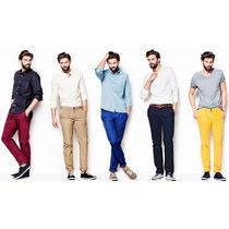 Calça Jeans Masculina Skinny Slim Várias Cores