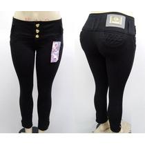 Calça Jeans Feminino Preto Com Bolsinho E Zíper Na Barra
