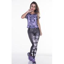 Calça Legging Estampada Jeans Rasgado Preto - Novo Modelo