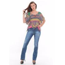 Calça Flare Jeans Com Detonação Handara Promoção