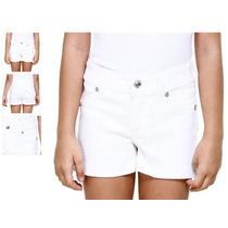 Shorts Juvenil Sarja Branco Com Strass - Tam 2! Novo