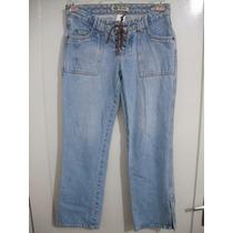 Calça Jeans Feminina Hering Tam 36 Com Ilhoses Na Frente
