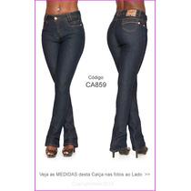 Calça Flare Feminina Com Elastano Jeans Azu Frete Grátis 845