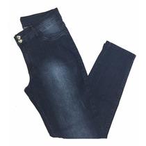 Calça Jeans Feminina Elastano Bordado Bolso Plus Size 44ao60
