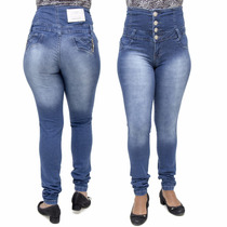 Calça Jeans Feminina Legging Credencial Corpete Cintura Alta