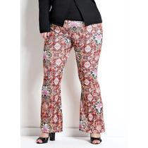 Calça Flare Plus Size Estampa Étnica Super Na Moda Linda